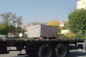 توقیف تریلی حامل سنگ تریاک در تهران