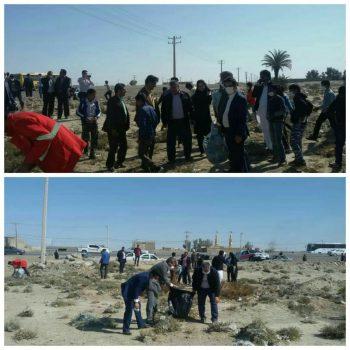 پاکسازی معابر ورودی و حاشیه شهر زابل توسط مدیران دستگاههای اجرائی