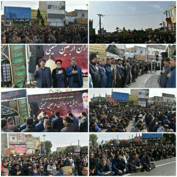 جاماندگان همایش جهانی اربعین در میدان امام حسین زابل به عزاداری پرداختند